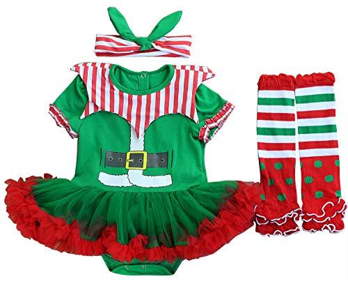 FANCYINN Baby Girl My First Christmas Elf Lil Outfit Tutu Fluffy Dress Green Red