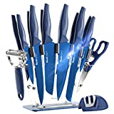 Wanbasion Azul 16 Piezas Juego de Cuchillos de Cocina Profesional, Juego de Cuchillos de Cocina Con Soporte, Bloque de Cuchillos Cocina Acero Inoxidable…