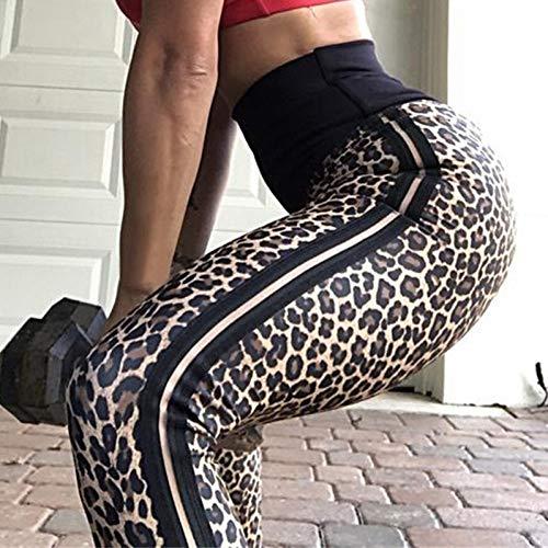 Yundongyi Women'S Leopard Stretchy Print Workout Leggings Hardlopen Yoga Broek Zijkant Wit Gestreepte Broek Hoge Taille Sweatpants
