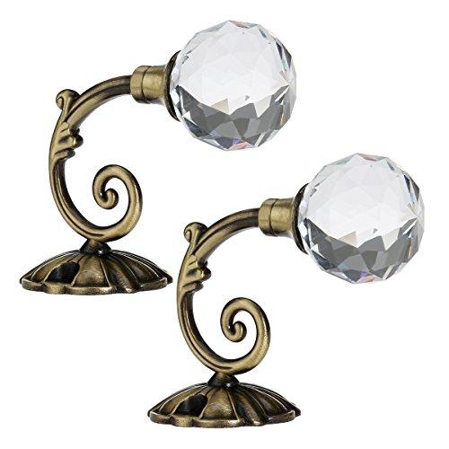 WINOMO 2pcs bola de cristal de la cortina de gancho metal cortina Holdback Tieback ganchos (bronce)