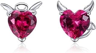 Women's Fashion 925 Sterling Silver Angel and Devil Pink Heart Stud Earrings Women's Red Fine Earrings Gift