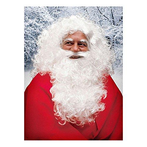 Maskworld - Weihnachtsmann Verkleidungs-Set Deluxe - Bart, Perücke und Augenbrauen - Nikolaus-Bart - Santa Claus