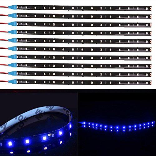 TABEN 1210-15SMD Lot de 10 bandes lumineuses flexibles pour voiture et moto 30 cm Bleu