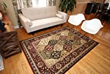 Feraghan/New City Traditional Panel Red Wool Persian Area Rug, 13' x 16', Burgundy