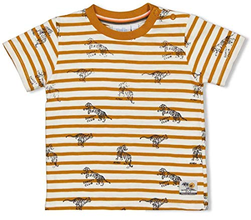 Feetje Ringel 0642 - Maglietta con scritta in lingua tedesca 'Tiger Print v Happy Camper Giallo senape/bianco sporco rigato 12 mesi