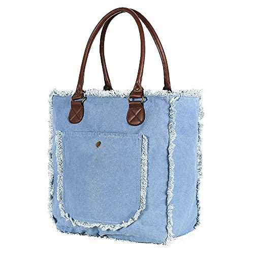 Bella&Quinny Borsa estiva da donna e ragazza, grande e resistente, in tela lavata a 2 strati, ideale come borsa per la spesa, borsa a tracolla, borsa da spiaggia, Blu cielo, 40*40*15cm