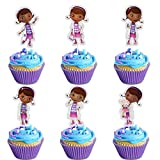 LYNHEVA Glitter Doc Mcstuffin Inspired Cupcake Topper, Doc Mcstuffin Toy Hospital Theme Party Supplies, Doc Mcstuffin Girls Birthday Party Favor