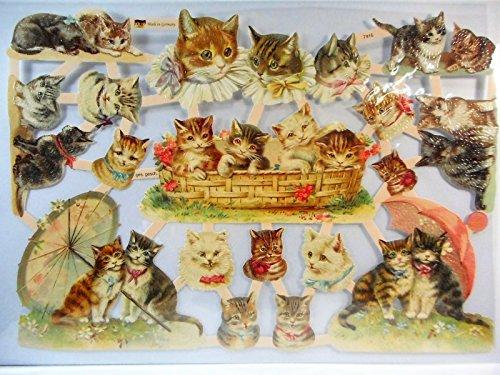 Glanzbilder Katze Katzen EF 7415 Oblate Posiebilder Scrapbook Deko GWI 373