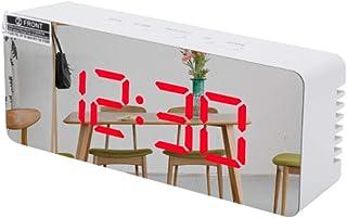 ninon ニノン 時計 デジタル 大きめ 大画面 卓上 置き時計 ミラー ライトアップ 静音 文字 大きい シンプル リビング 立体 LED 光る 正方形 長方形 目覚まし