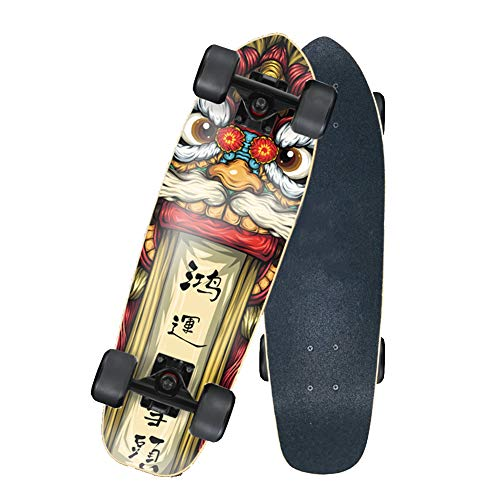 Nengge Profi Mini Cruiser skateboard, klein en handzaam, retro esdoornhout, plank voor beginners, jongeren en volwassenen