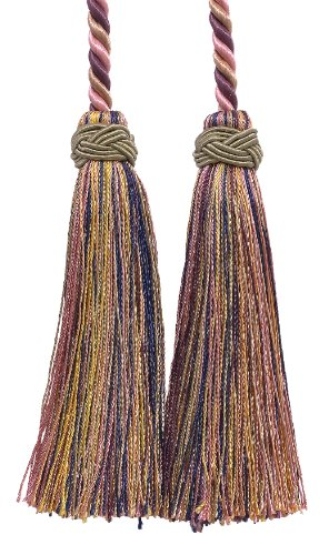 Double Tassel / Dusty Rose, Dark Blue, and Light Olive / Tassel Tie with 10cm Tassels, 66cm Spread (Cord Length), Imperial II Collection Style# ICT Color: OLIVE ROSE - 1010