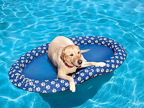 Dog Pool Float for Large Dogs and Puppies, Large Contemporary Pet Dog Cat Swimming Water Toy Dog Blue Float Inflatable Ride On