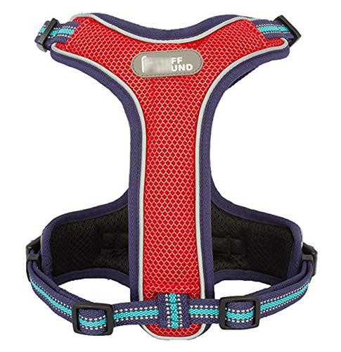 TWQ Arnés de perro ajustable, arnés de tracción para mascotas, arnés ajustable y transpirable, para perros medianos y grandes, color rojo