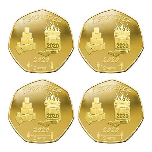 Monete commemorative per i collezionisti da Memorializzare, in argento dorato e argento, con scritta 'I Survived 2020'