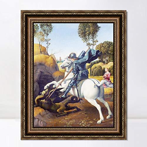 "INVIN ART Framed Canvas Art Giclee Print Series#098 by Raphael/Raffaello Sanzio Wall Art Living Room Home Office Decorations(Vintage Embossed Gold Frame,20""x24"")"