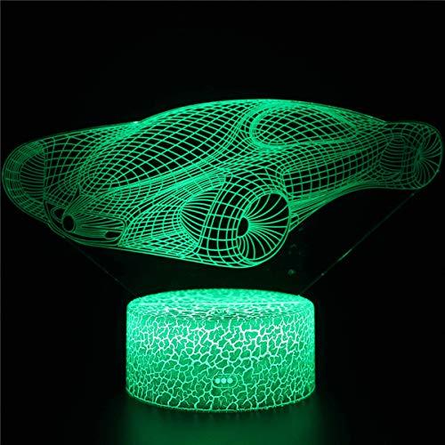 3D niños luz nocturna animal concepto de ilusión óptica coche A 16 colores cambiantes lámpara de escritorio nueva 3D LED noche luces LED táctil remoto y 16 colores cambiables