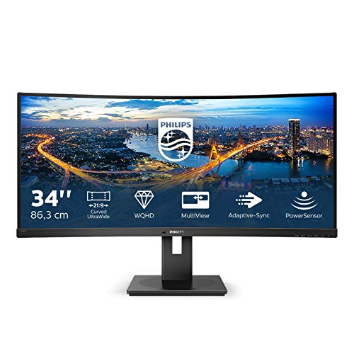 "Philips 345B1C Gaming Monitor Curvo 34"" 21:9, WQHD 3440 x 1440, 100 Hz, Adaptive Sync, Multiview ( PiP, PbP ), Audio Integrato, 2 HDMI, Display Port, Hub USB, Regolabile Ergonomicamente, Vesa"