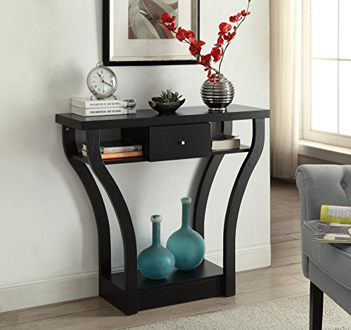Black Finish Curved Console Sofa Entry Hall Table with Shelf/Drawer