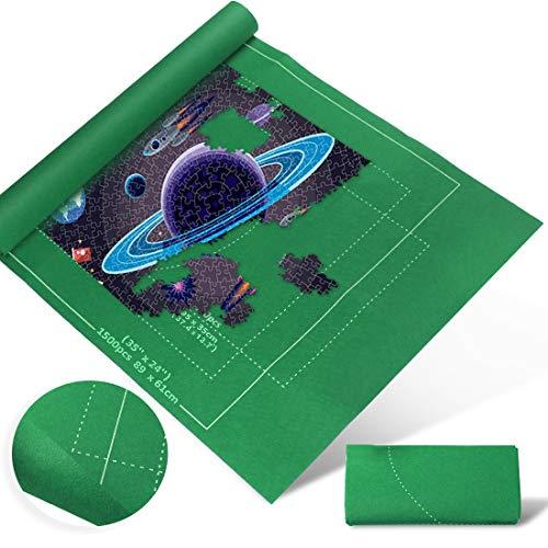 Zaloife Tapete Puzzle, Tapete para Enrollar Puzzles, Tapete para Puzzles 1500 Piezas, Puzzle Mat Verde,Estera de Rompecabezas Portátil, Puzzle Mat Roll