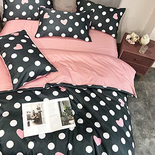 Bettbezug 200x220,Summer Little Strawberry Vierteilige Superweiche, nackte, schlafende, gewaschene Seidenbettdecke Dreiteilige Steppdecke aus Eisseide-Ruf der Liebe_1,8 m vierteiliger Anzug [Bettbezu