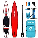 WOWSEA Traveller W1 Inflatable Paddle Board, Durable and Stable Racing Paddleboard, Hunting & Exploring Standup Board, 12.6' Long x 29' Wide x 6' Thick with iSUP Accessories (Red)