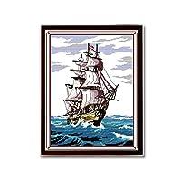 クロスステッチキットDIY刺繍セット 航海37x46cm 図柄印刷 初心者 ホームの装飾 風景 刺繍糸 針 ホームの装飾