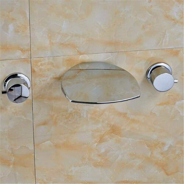 Wasserhahn Becken Wasserhahn Warm Und Kaltwasserhahnpoliert Chrom Badezimmer Basin Wasserhahn Wandhalterung Hot Cold Mischbatterie Dual Griffe
