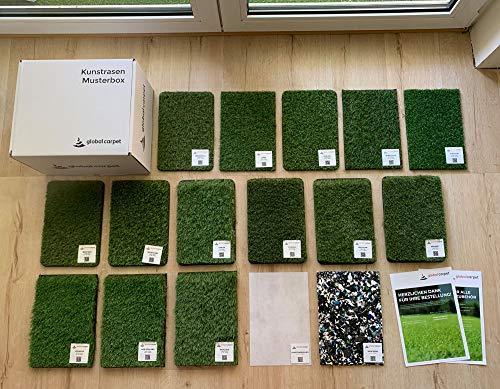 Steffensmeier Kunstrasen Teppich Musterbox | alle unsere Kunstrasen auf einen Blick | inklusive Zubehör | für Balkon, Garten und Terrasse | Meterware