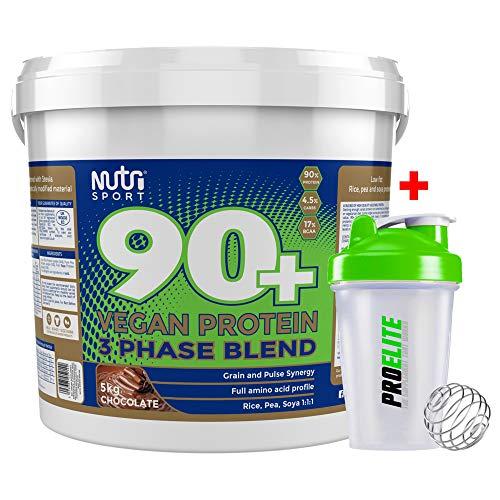 Nutrisport 90+ Plus Vegan 3 Phase Protein Blend 5kg / 5000g + Shaker Bottle (Chocolate)