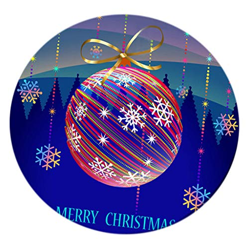 Serenable Christmas Table Cloth Round 47 Inch Elastic Edge Fitted Vinyl Table Cover Colorful Ball Pattern Table Decor Waterproof Table Pads for Home Decor