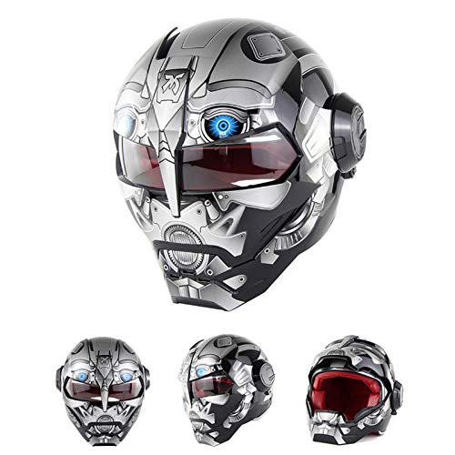 Braveking Motorradhelm, Iron Man-Integralhelm, Transformers Klapphelm, Vintage Harley-Helm,15,M