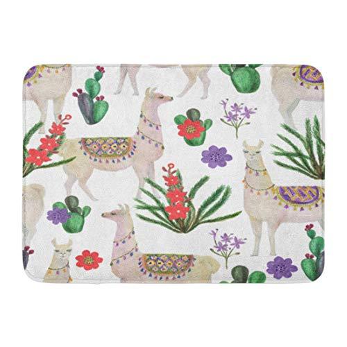 N/A Bathroom Rug,Door Mat,Doormats,Entry Carpet,Mother Watercolor Painting Llamas And Cacti Peru Peruvian Alpaca Welcome Doormat Floor Mat For Kitchen Bathroom Home Decor,60X40Cm