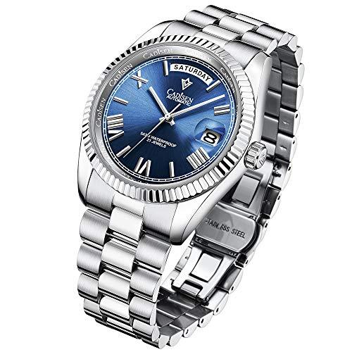 CADISEN Mechanical Watch Herrenmode Automatikuhr Business Sapphire Waterproof Herrenuhren Edelstahl Casual Herren Golduhren mit Tag und Kalender (Blue)