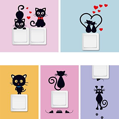 Stonges 5 pcs Chat Wall Sticker Interrupteur de Lumière Décor Wall Art Mural Maison Chambres...