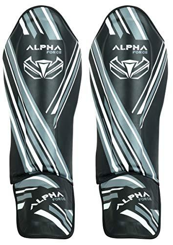 ALPHA FORCE MMA Shinguards Kickboxing MMA, Muay Thai Shin & Instep Guards Leg Pad Training Protective Gear (Black, Small)