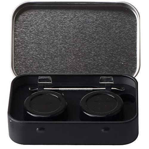 XIFEI Tragbare Edelstahl-Blechdose 2–5 ml Silikon-Behälter, Antihaft-Aufbewahrung, Wachs-Tragetasche mit extra Edelstahl-Löffeln (schwarz)