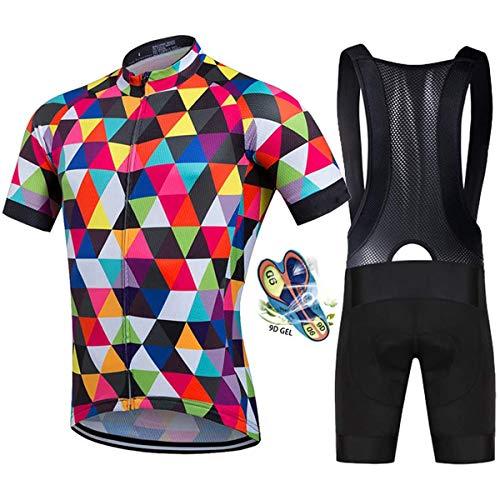Radtrikot Fahrrad Trikot Set, Herren Fahrradtrikot + Radlerhose mit 9D Sitzpolster, Radsport Anzüge MTB Mountainbike Atmungsaktiv und Schnell Trockend Stoff für Fahrrad Rennrad
