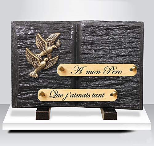 ARTIS FUNERAIRE Plaque funéraire avec textes à Personnaliser
