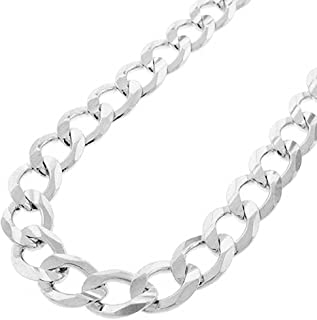 Pori Jewelers Solid 925 Sterling Silver Cuban Chain Necklace - Made in Italy - 2.8mm - 12mm