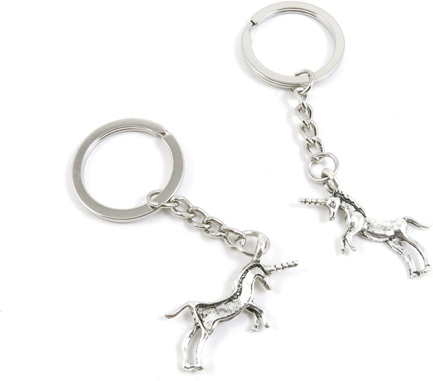 100 Pieces Keychain Keyring Door Car Key Chain Ring Tag Charms Bulk Supply Jewelry Making Clasp Findings J1WQ3R Unicorn