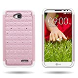 CoverON Hybrid Dual Layer Diamond Case for LG Optimus L70 Exceed 2 Realm Pulse Ultimate 2 L41C Light Pink Hard Bling Plastic + White Soft Silicone