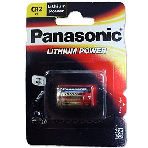 Panasonic CR2 zylindrische Lithium-Batterie für leichte Geräte mit hohem Energiebedarf wie Rauchmelder, Alarmanlage, Stirnplampe, Kameras, 3V, 1er Pack