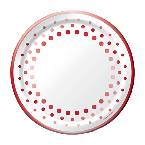 Creative Converting 317994 Sparkle and Shine Ruby 8-Count 10-Inch Paper Banquet Plates, Foil