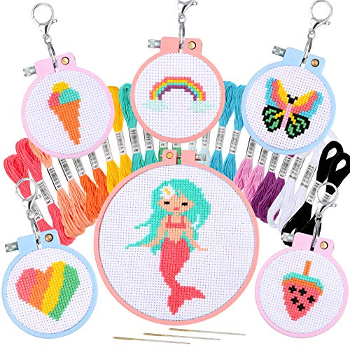 Pllieay 6 PCS Cross Stitch Beginner Kit for Kids 7-13, Starter Cross Kit Sewing Set with Instructions for Backpack Charms, Ornaments and Needle Craft