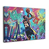 Kobe-Bryant Canvas Wall Art Abstract Print Home Decor - Forever Mamba LA #24 Basketball Picture Paintings Mourning Artwork for Living Room Bedroom Decoration Framed Poster Ready to Hang 12x16 In