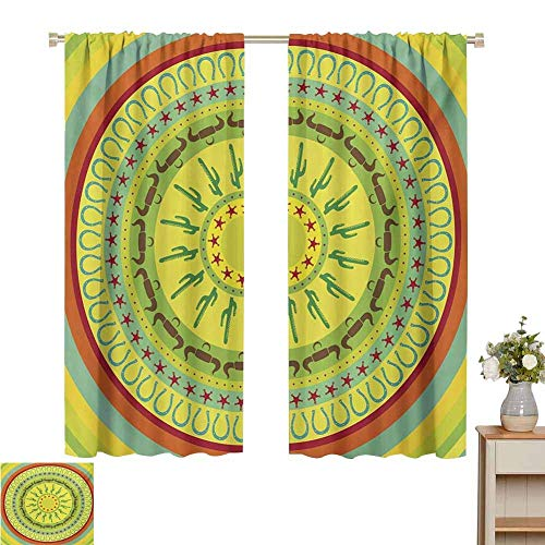 N / A Curtains for Living Room Southwestern,Wild West Cowboy Themed Design Colorful Circles Bull Horns Saguaro,Multicolor,for Room Darkening Panels for Living Room, Bedroom