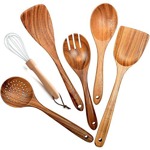Senmubery Utensilios de Madera para Cocina, 6 Piezas Cucharas de Madera para Cocinar EspáTula de Madera Cuchara de Drenaje Batidor, Tenedor de Ensalada, Utensilios de Cocina