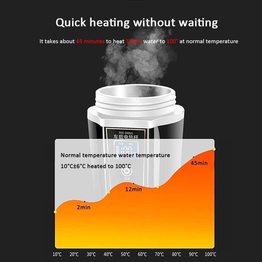 HLJ Travel Car Verwarming Ketel draagbare reizen Bekers Ketel met instelbare temperatuur for koffie/thee/melk Stainles (Color : White) Black