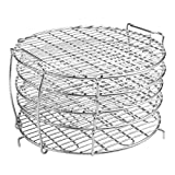 M V VOIMAKAS Dehydrator Rack for Ninja Foodi 6.5 & 8 qt, 304 Stainless Steel Dehydrator Stand Five Stackable Layers Grill Racks Accessories for 8 qt Instant Pot Air Fryer