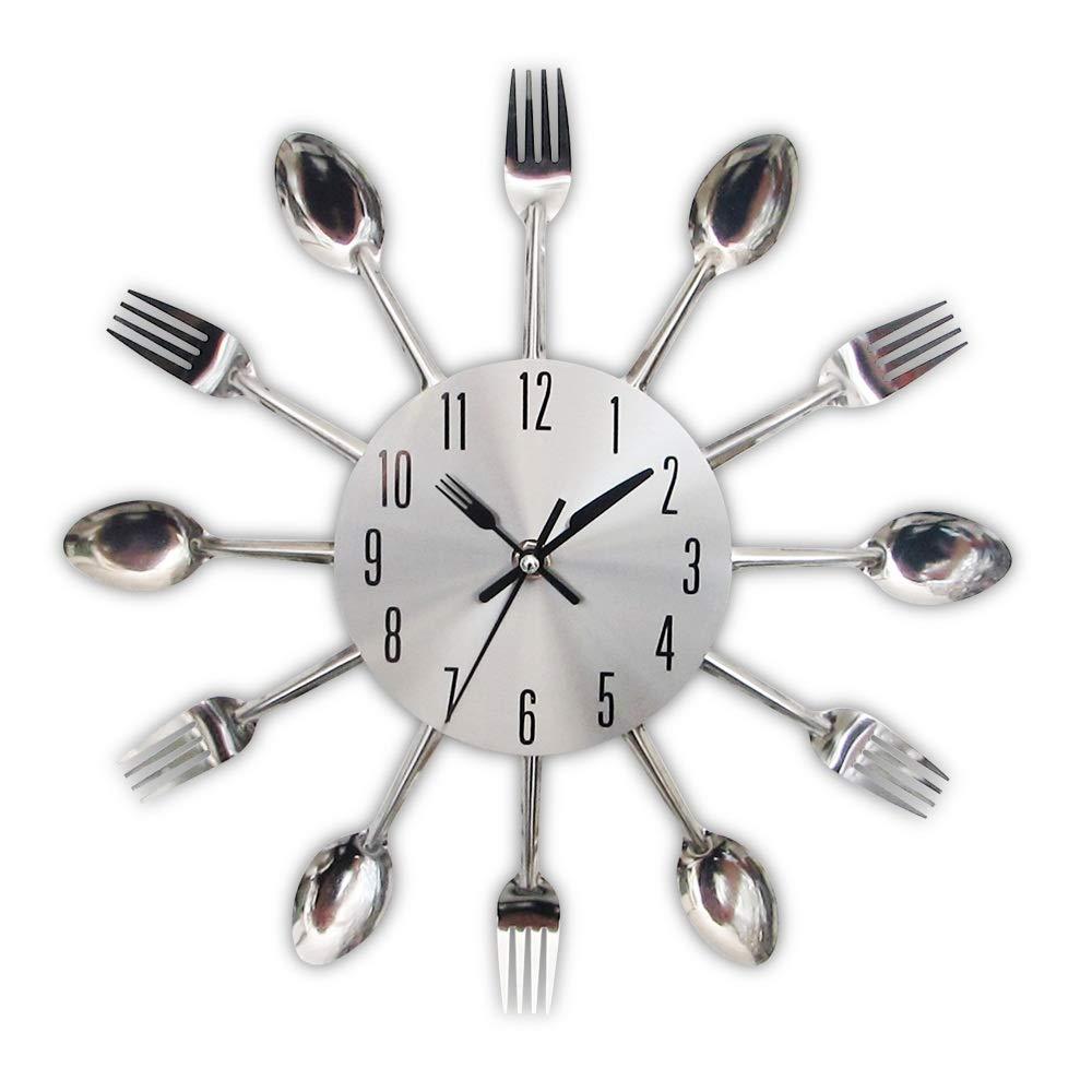 GSOLOYL Cubiertos de Metal Reloj de Pared de la Cocina Cuchara Tenedor Creativo de Cuarzo montado en la Pared Relojes Modernos de diseño Decorativo del Reloj Murale Caliente de la Venta (Color :